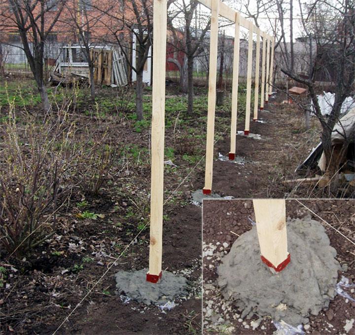 Бетонирование деревянных столбов для забора