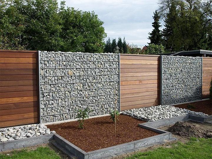 Забор из габионов и евродоски