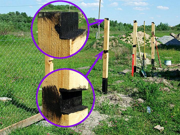 Защита деревянного столба от гниения