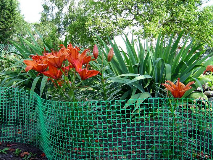 Ограда клумбы из пвх-сетки