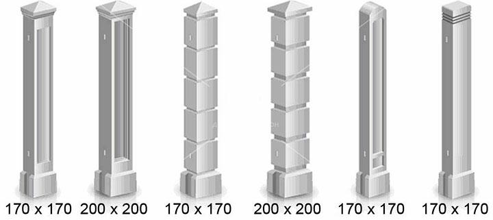 Размеры стандартных столбов из бетона