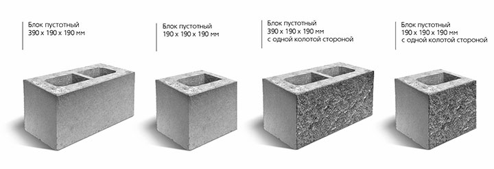 Разновидности бетонных блоков