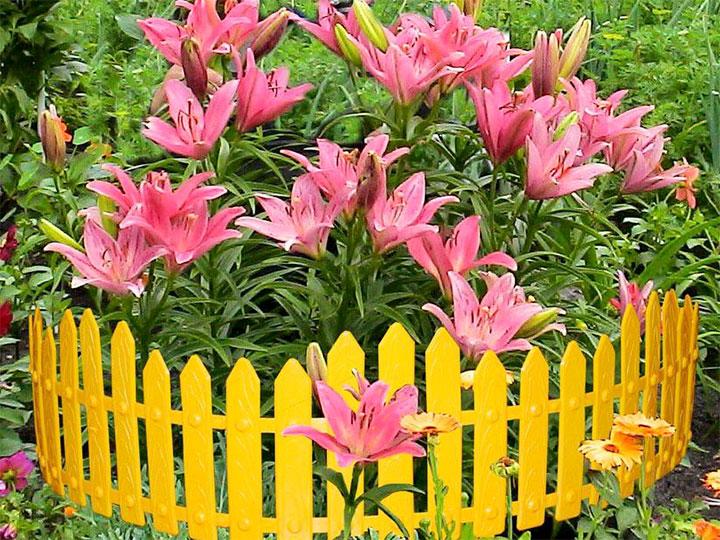 Пластиковая оградка для цветника