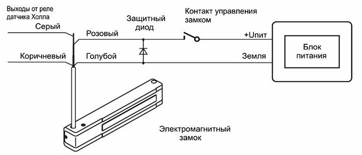 Схема электрической цепи магнитного замка