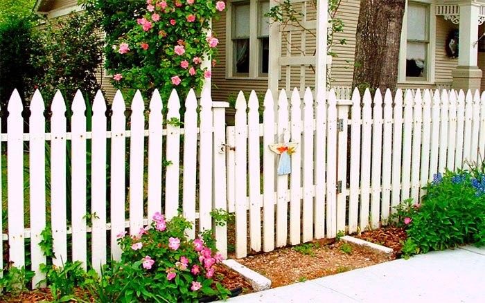 Забор и калитка из белого штакетника