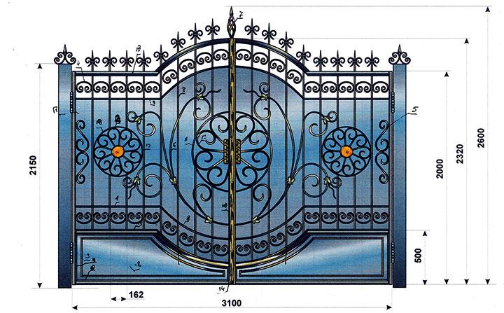 Чертеж ворот с кованными элементами