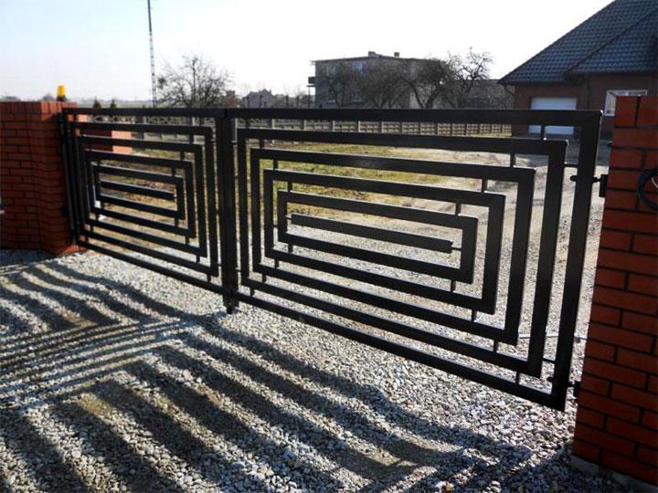 Металлические ворота в стиле хай-тек