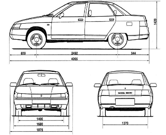 Габариты автомобиля ВАЗ 2110