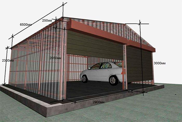 Модель гаража из профлиста на 2 автомобиля