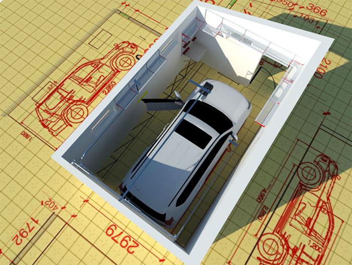 Схема внутреннего пространства гаража для кроссовера
