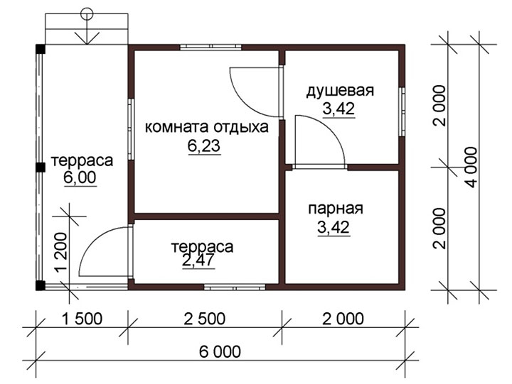 Схема бани с открытой террасой