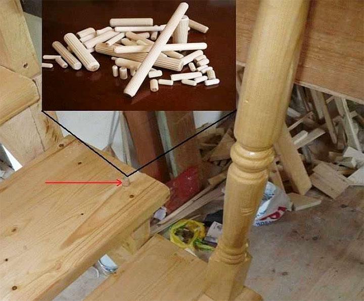 Установка балясин на деревянные шканты