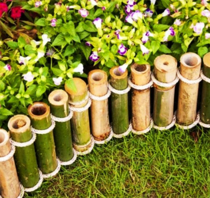 Бамбуковое ограждение для клумбы